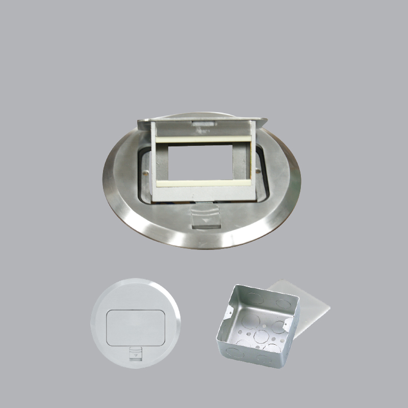 Gray circular recessed floor socket
